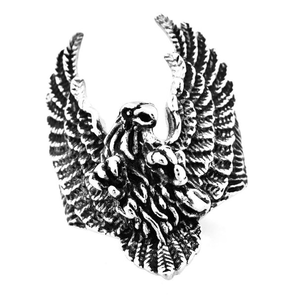 Custom made stainless steel mens or wemens jewelry VINTAGE PUNK Wings Eagle Ring GIFT FOR BORTHERS FSR07W83
