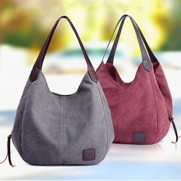 2019 sacs à main en toile pour femmes chauds Vintage haute qualité Hobos femme unique sacs à bandoulière