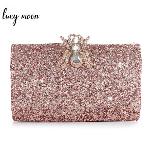 Fashion Pink Sequined Clutch Bag Female Purse Luxury Wedding Party Pearl Chain Handbag Unique Diamond Spider Lock Evening Bags