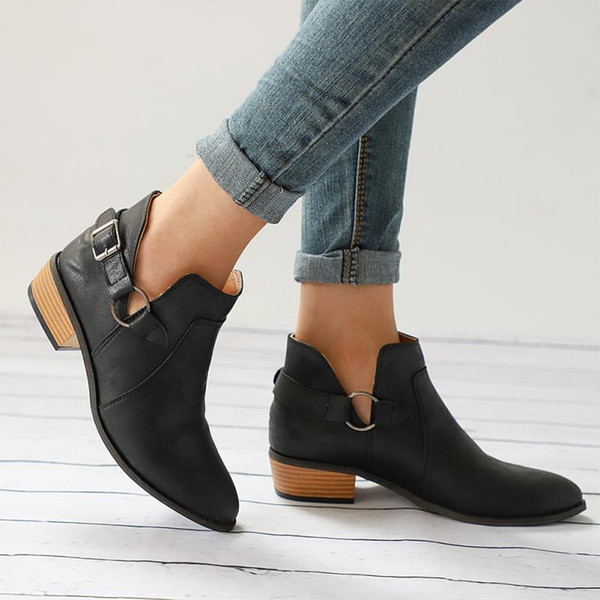 Designer Dress Shoes 1 Pair Women Slip-on Pointed Toe Low Heel Casual Buckle PU Boots Fashion Ankle V Cut Out