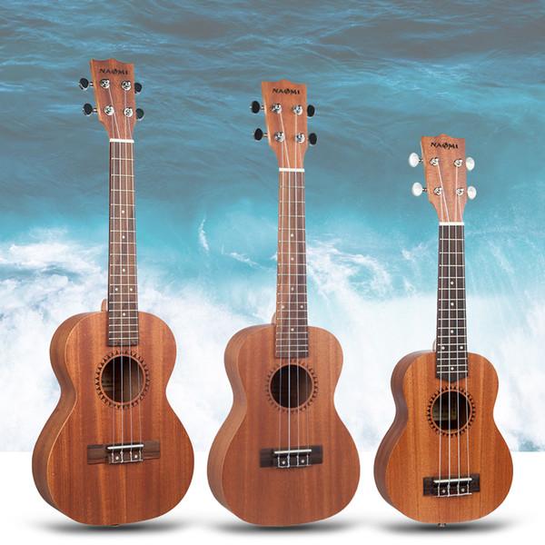 top popular NAOMI Soprano Concert Tenor Sapele Ukulele Hawaii Guitar Acoustic Cutaway Guitar W  Gig Bag 2021