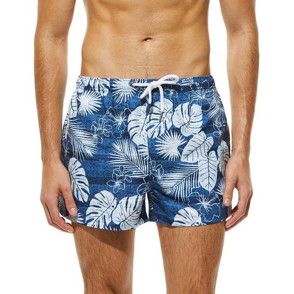 Fashion Men Breathable Trunks Pant Leaves Print Swimwear Beach Shorts Slim Wear Printed Beach Shorts Men Board