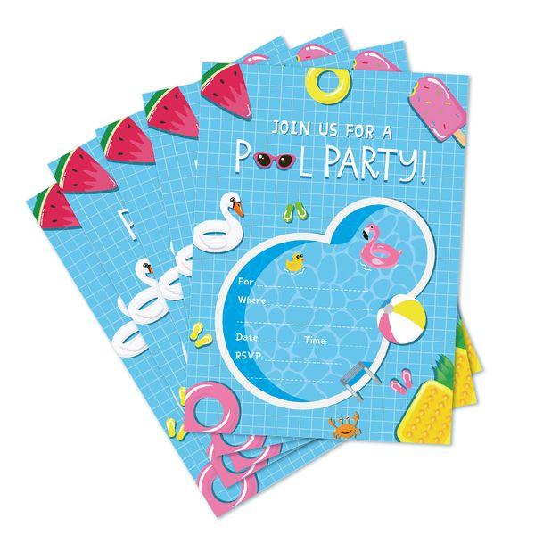 Compre Piscina Fiesta De Cumpleaños Invitaciones Tarjetas Boda De Verano Baby Shower Invitaciones De Dibujos Animados Fiesta Infantil Favores