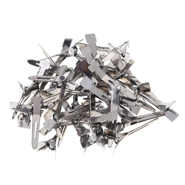 Over 45pcs/pack Hairdressing Salon Hair Tools Silver Flat Metal Single Prong Alligator Hair Clips Barrette DIY Hairpin Accessory