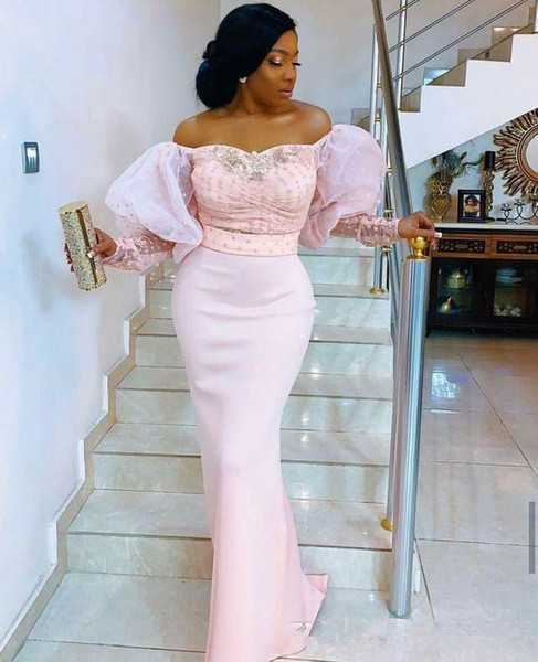 2019 Nigerian lace long sleeve evening dresses off the shoulder Puff sleeve elegant beaded african arabic formal celebrity prom party gowns