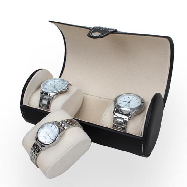 Al por mayor-portátil de viaje PU de cuero Reloj Case Roll 3 Ranura de reloj de pulsera Caja de almacenamiento de viaje Bolsa de reloj Pantalla de almacenamiento Caja de reloj de caja