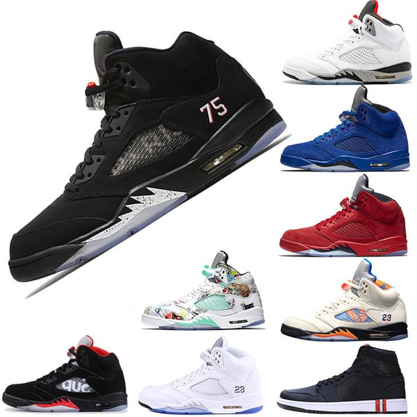 2019 23 75 Psg X Pairs 5s Mens Basketball Shoes V Fire Red Suede Sup Black Metallic Silver White Grapes Man Sports Sneakers