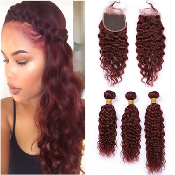 Peruvian Burgundy Hair Bundles Wet and Wavy with Closure Water Wave #99J Wine Red Human Hair Weave Extensions with Lace Closure 4x4