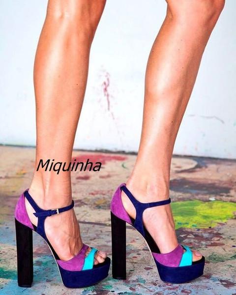 Trendy Buckle Style Women Platform High Heels Classy Colorful Suede Open Toe Block Heel Dress Sandals Sexy Nightclub Shoes Hot