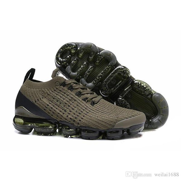 2019 Mens Designer Sneakers Dark Green Men Womens Running Shoes Knitted Sport Trainers 87s Thea Sizes 36-45