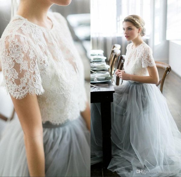 Two Pieces White Lace Bridesmaid Dresses With Short Sleeves Grey Tulle Simple Wedding Guest Dress Cheap Long Special Occasion Dress