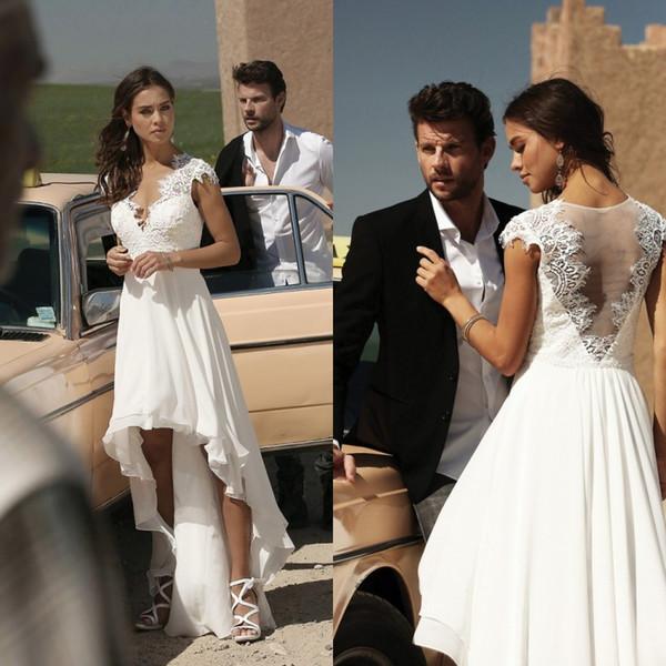 2020 Um casamento Linha Vestidos V Neck tampado da luva apliques Chiffon Bohemian Vestidos de casamento Custom Made baratos Hi Lo vestidos de noiva