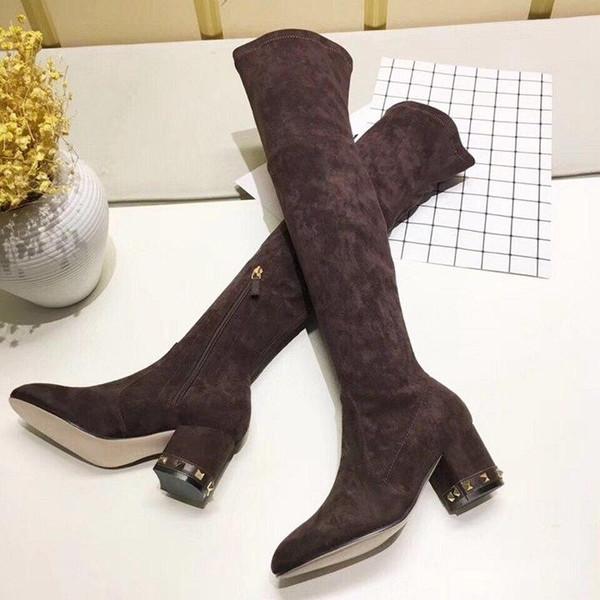 Miglior designer nuova seta di alta camoscio camoscio sopra gli stivali al ginocchio caffè nero color champagne blu reale con a strati con gli stivali di partito Slim