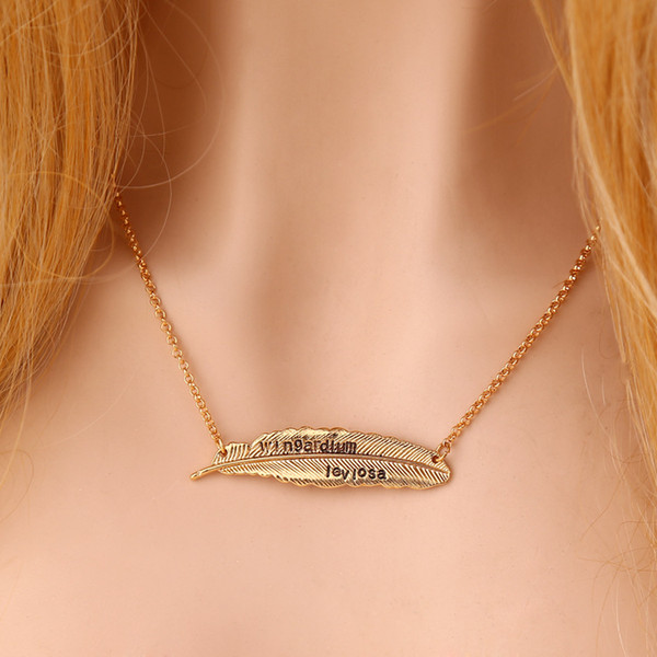 Book Letter Wingardium Leviosa Pendant Necklace Feather Pendants for Women Men Silver Gold Plated Jewelry