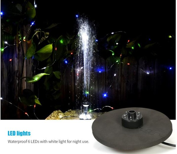 Electronic Solar Fountain Pump kits with LED Garden Floating Water Pump for Birdbath/Pond Outdoor Plants Watering Display SQ06-1