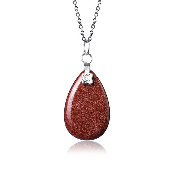 18*28mm Big Gold Sand Stone Pendants&Necklaces Water Drop Natural Gem Stone Necklaces Stainless Steel Chain Necklaces For Women