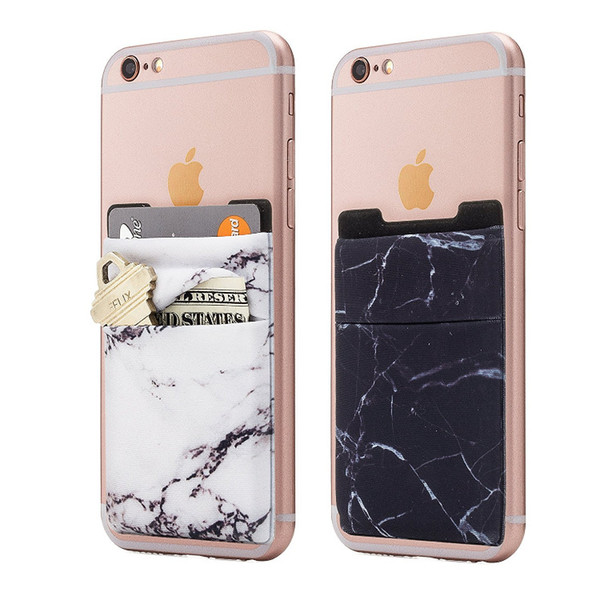 Lycra 3M Adhesive Decorative Sticker Pocket Card Credit ID Holder Back Phone Pouch For iPhone X 8 7 for Samsung S9