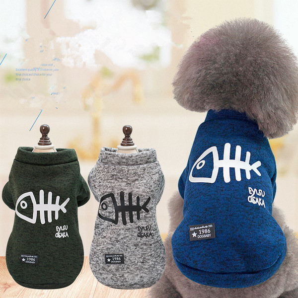 Wholesale Dog clothes Autumn And Winter Thicken Keep warm Pet clothing Fishbone printed cotton coat new style Factory direct sales