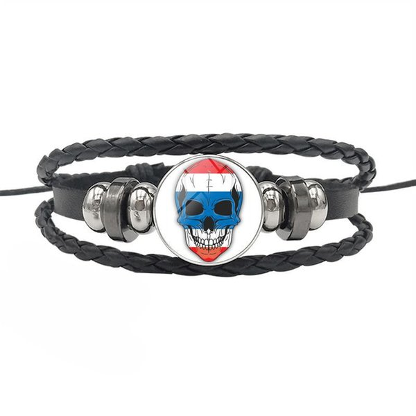 Vintage Punk Style Thailand National Flag Time Gem Glass Cabochon Skull Series Button Jewelry Cuff Leather Rope Bead Bracelets for women men