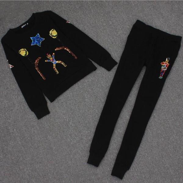 2019 nuovi pantaloni da donna di moda piccola fragranza da donna a cinque stelle ricamati pantaloni maglione di paillettes in due pezzi