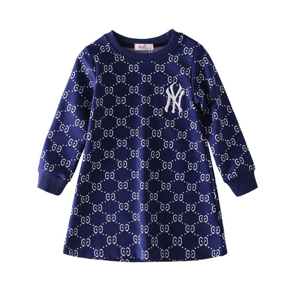 2019 Autumn Dress Girl Embroidery Dress Children Baby Printing Long Sleeves Princess Skirt