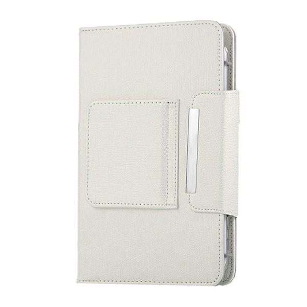 Tablet Wireless Bluetooth Tastiera Pu Custodia in pelle Cover staffa bianca