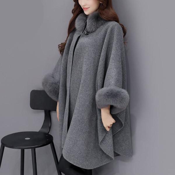Mulheres Moda Casaco Poncho 2018 Novo Outono Inverno Casual Coreano Pele De Raposa De Lã De Lã Elegante Cardigan Manto Xale Feminino tamanho