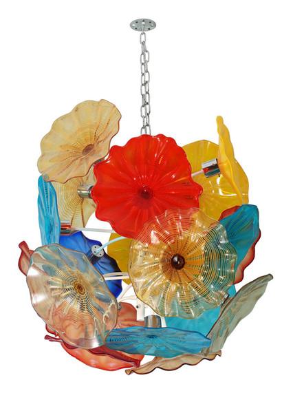 American Hand Blown Murano Glass Chandelier Pendant Light LED Glass Art Flower Chandelier for Living Room Dining Room Staircase