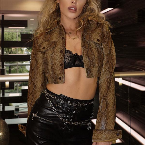 Moda Mujer Short Snake Impreso Pu Chaquetas Ropa Botones de cuello de solapa Frente Hip Pop Rock Style Mujeres Coat Crops FS5293
