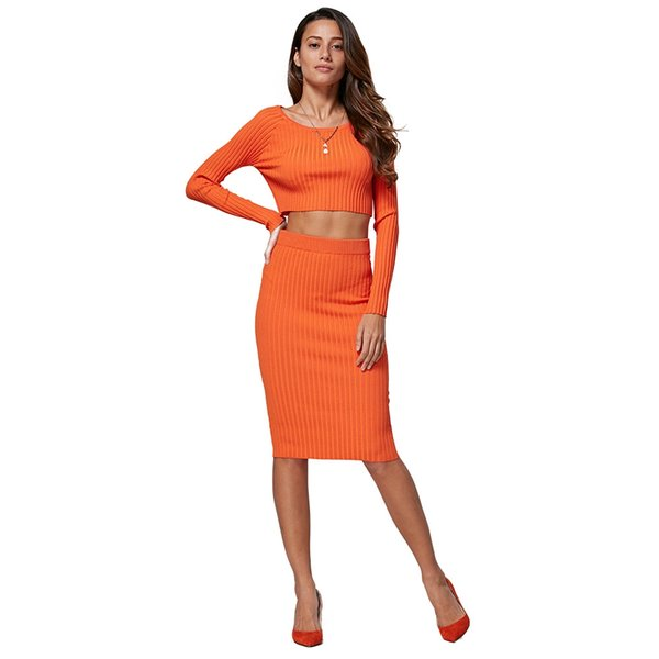 Simple Style Round Collar Pure Color Ribbed Knitted Bodycon Women Two Piece Dress