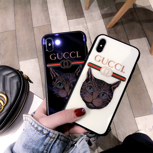 Applicable tide brand cat iphone 7 plus mobile phone shell all-inclusive iphone X glass shell 6S plus lanyard XS MAX fashion atmosphere XR