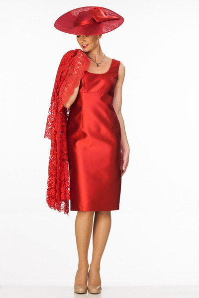 Sheath Red Mother of The Bride Dresses With Long Sleeves Lace Jacket Scoop Neckline Mother Wear Knee Length Evening Dress