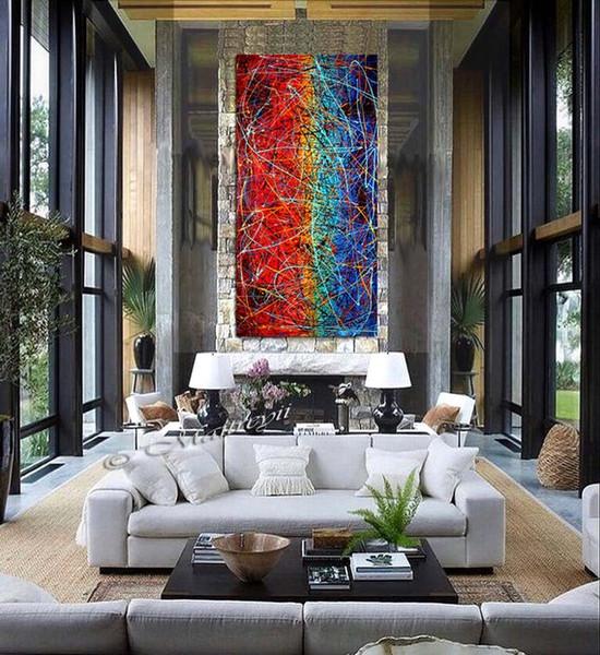 Jackson Pollock Damla Tarzı Sanat Mavi Kırmızı Boyama ekstra büyük Yağlıboya o Tuval Modern Duvar Yapıt boy sanat Lüks Tarzı