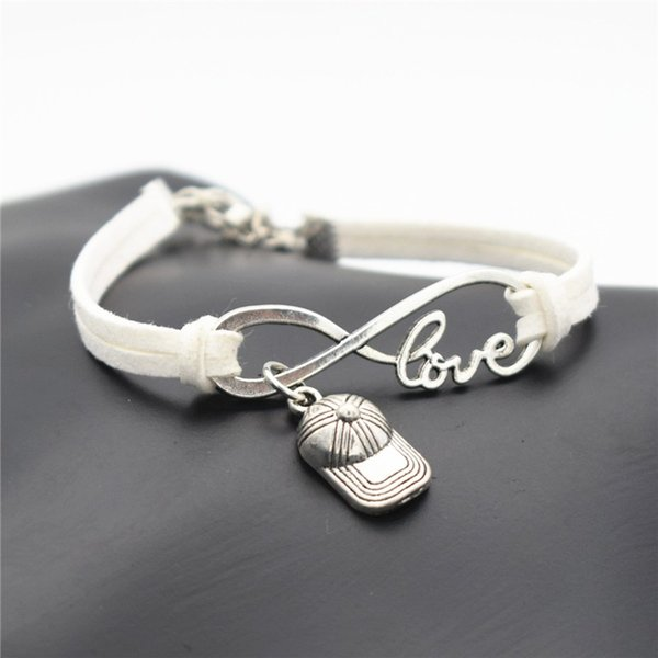 Silver Alloy Infinity Love Hip Hop Baseball Cap Hat Sports White Leather Suede Wrap Cuff Charm Bracelet Women Men Gift Jewelry Factory Price