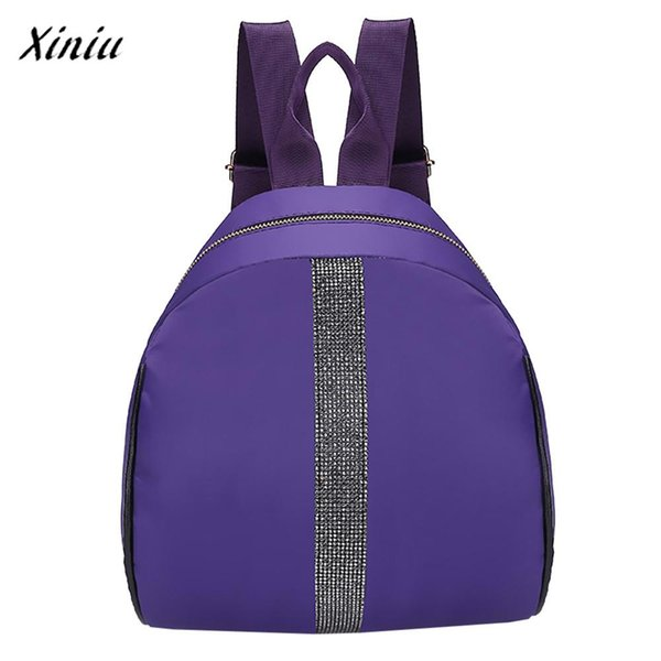 Hot Retro Design Fashion Women Students Nylon Hit Color Shoulder Bag School Bag Tote Backpack High Quality Vintage Designer