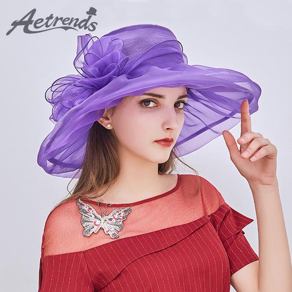 [AETRENDS] 2018 New Vintage Elegante Doppelschichten Organza Sonnenhüte für Frauen Blume Mesh Strandkappen Sommer Hut Z-6479 D19011103