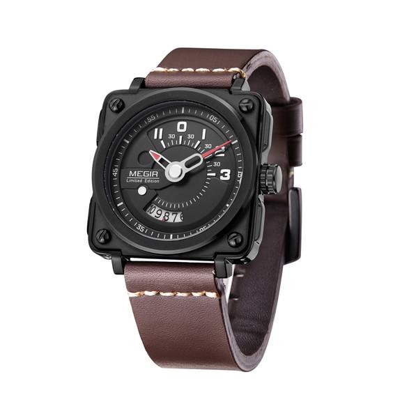 BRW Hot Men Square Analog Dial pulseira de couro à prova d 'água relógios de pulso de quartzo com calendário Data 2040