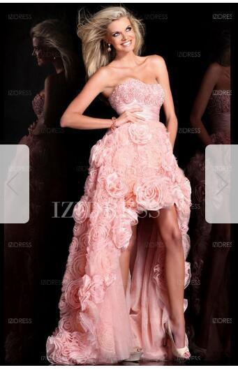 A-Line/Princess Sweetheart High Low Hem Lace Prom Dressw86