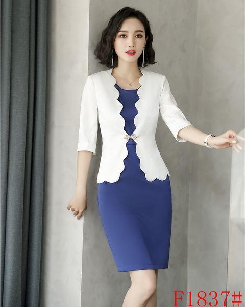 Nouveau style blanc blazer femmes costumes d'affaires costumes de bureau des robes de travail dames robe et veste ensembles bureau conceptions uniformes
