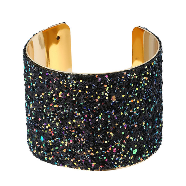 1PC Fashion Sparkling Stylish Trendy Chic Wide Sequin Cuff Bracelet Statement Jewelry Hand Decor