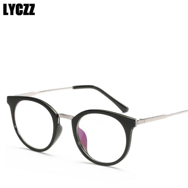 LYCZZ Cat Eye Glasses Frame Vintage spectacle frames Unisex Glasses Flat Mirror Optical Eyewear Fashion oculos de sol feminino