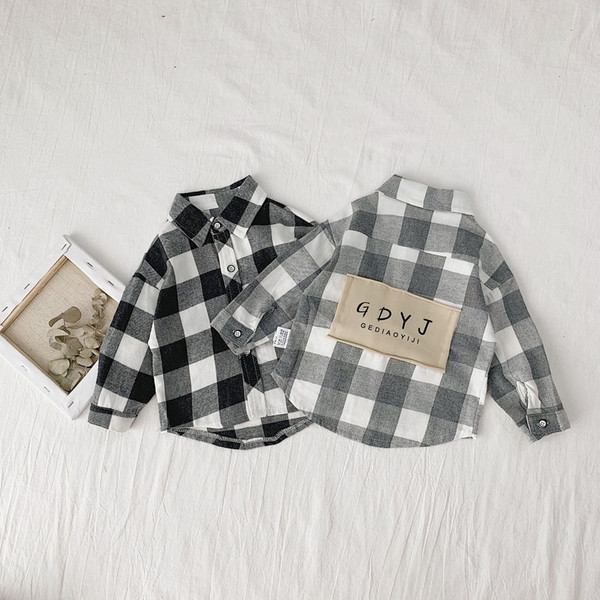 top popular Autumn little boys fashion letters patch long sleeve plaid shirts Korean style cotton casual shirt 0-5Y Y200704 2021