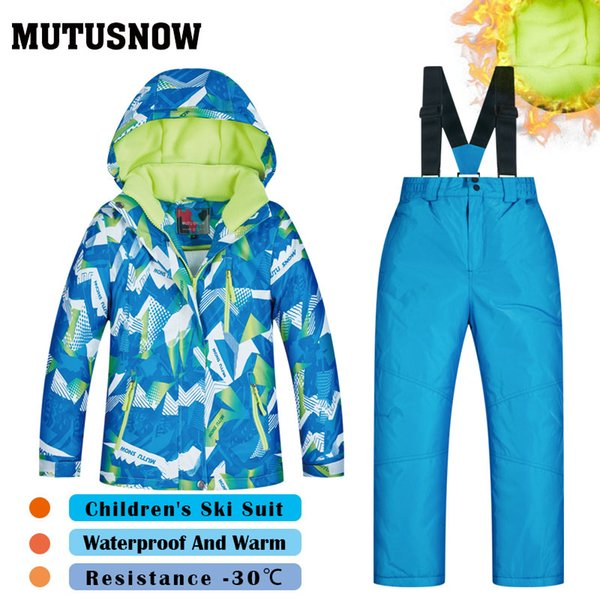 MUTUSNOW Boys Ski Suit Children's Brands High Quality Skiwear Windproof Waterproof Snow Pants Warm Child Winter Thick Snowboard Suits LQP