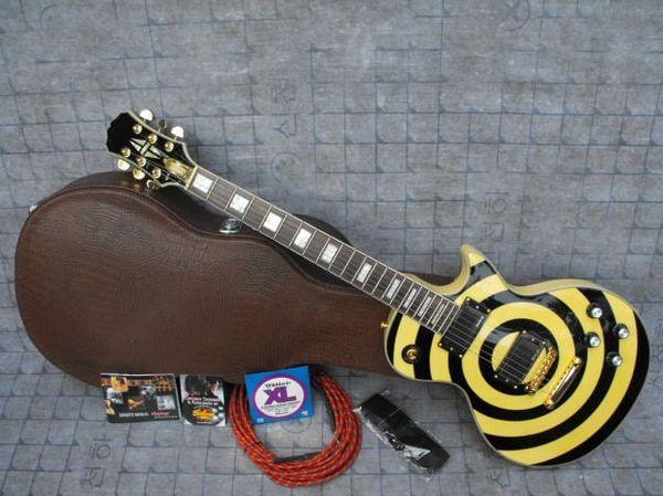 Cu tom hop zakk wylde bull eye parkle gold black emg pickup electric guitar gold hardware gold name plated