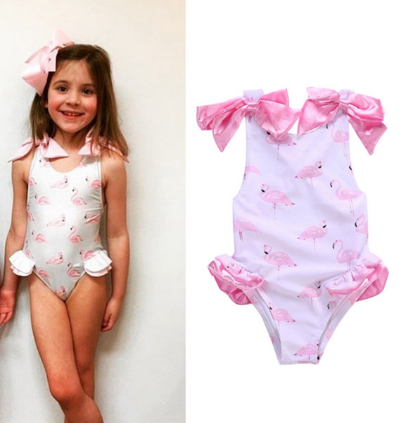 3846502f41 Baby Girls Swimwear Flamingos Printed Kids Swimsuit One Pieces Cute Girls  Bow Beachwear Bikini Bathing Suit