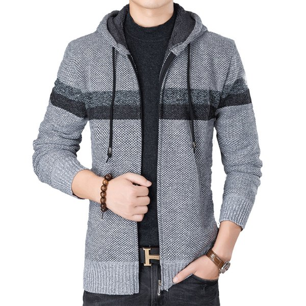 Men Sweater Cardigan Zipper Fashion 2018 New Loose Men's Thick Winter Sweater Striped Knitting Patterns Mens Coat Jacket