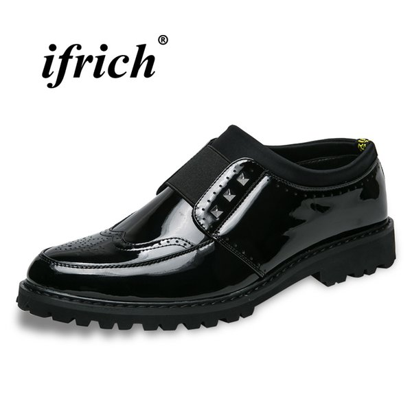 High Quality Brogue Designer Male Shoes Thick Soled Groom Wedding Fashion Shoes Slip-on Lazy Mens Black Casual Footwear