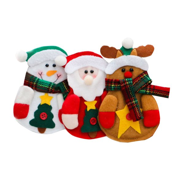 Three-member Family Christmas Cutlery Storage Bags Dining Silverware Holder Pockets Tableware Container with Xmas Patterns