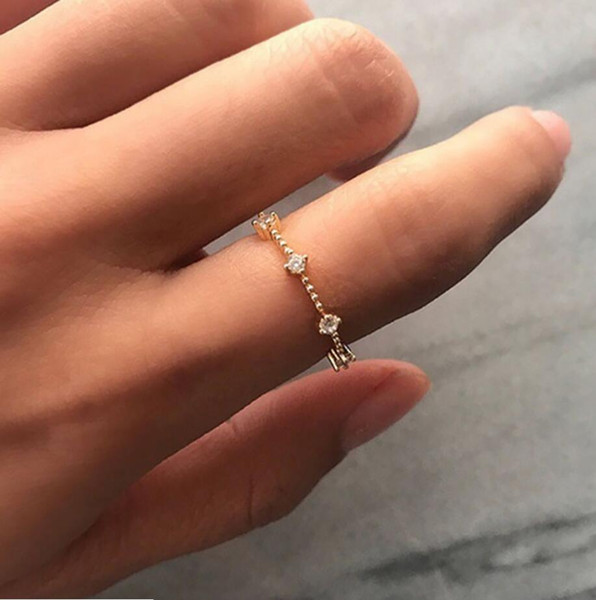 Tiny Dainty Stacking Stackable 7 Diamond Ring Rose Gold Engagement Ring Christmas Gift for Women