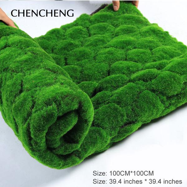 Estera cuadrada Tamaño 100 CM * 100 CM Planta de césped artificial Hierba verde del jardín Decoración de la sala de estar Decoración de hierba artificial